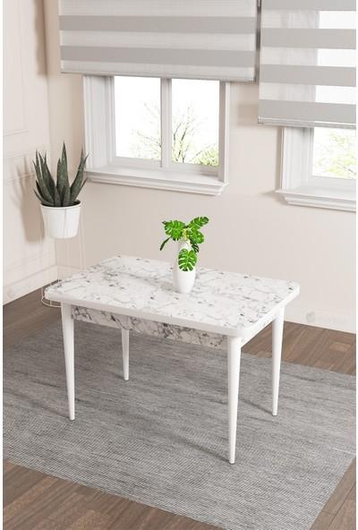 Rovena Lera Serisi Beyaz Mermer Desenli Ahşap Ayaklı Sabit Masa Takımı +2 Adet Sandalye