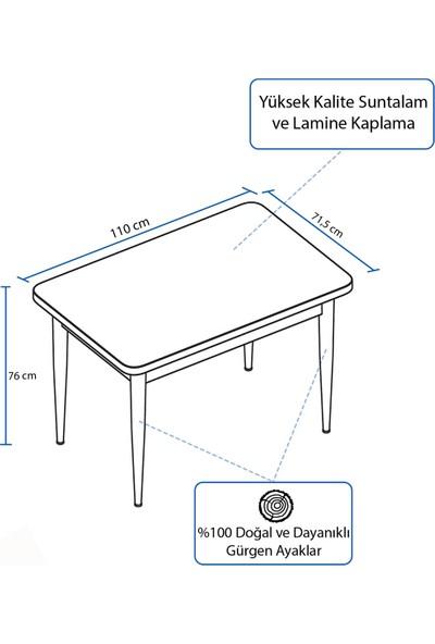 Rovena Lera Serisi Beyaz Mermer Desenli Ahşap Ayaklı Sabit Masa Takımı +4 Adet Sandalye