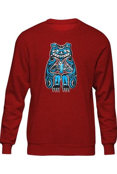 Fandomya Mohikan Kızılderili Claw Kırmızı Sweatshirt