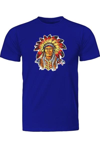 Fandomya Mohikan Kızılderili Teneca Mavi Tişört