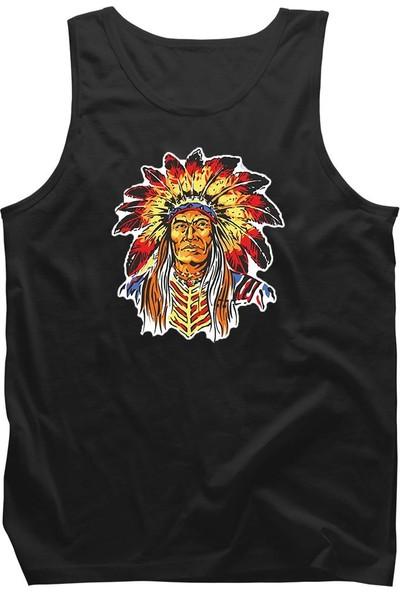 Fandomya Mohikan Kızılderili Teneca Siyah Askılı Atlet