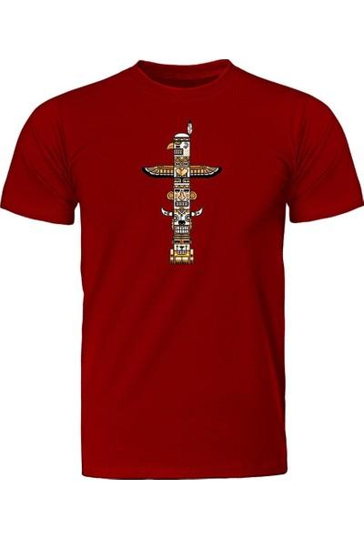 Fandomya Mohikan Kızılderili Totem Kırmızı Tişört