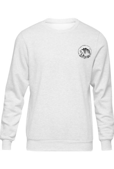 Fandomya Minimalist Waves Beyaz Sweatshirt