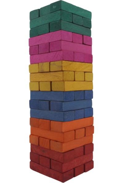 Renkli Büyük Boy Doğal Ahşap Denge Oyunu Kule Oyunu 54 Parça Renkli