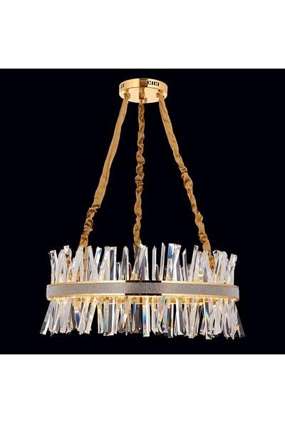 Koint Lighting Şehrazat Sarı 80 cm Kristal Sarkıt Avize