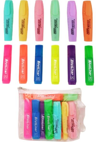 Homix Pastel Renk Fosforlu Kalem 6'lı + Neon Renk Fosforlu Kalem 6'lı + Şeffaf Çanta