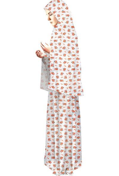 Oulabimir Baskılı Pamuklu Penye Namaz Elbisesi
