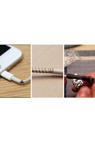 Woer Daralan Makaron Iphone Şarj Kablo Ucu Koruyucu 6.4 mm 10 Adet 5 cm Beyaz
