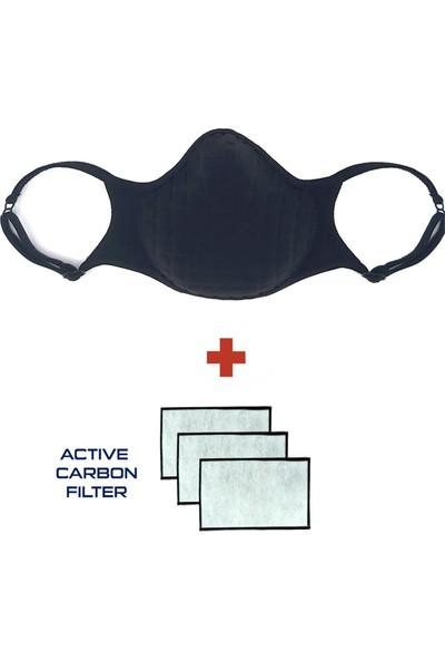 Oxyofficial Değiştirilebilir 3 Adet Aktif Karbon Filtreli Siyah Yıkanabilir Maske