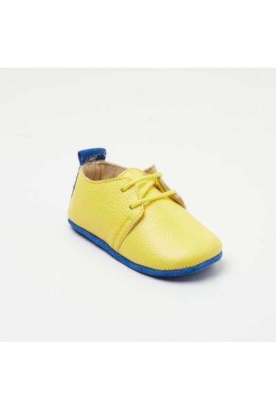 Wolke Baby Sarı-Mavi Deri Bağcıklı Oxford
