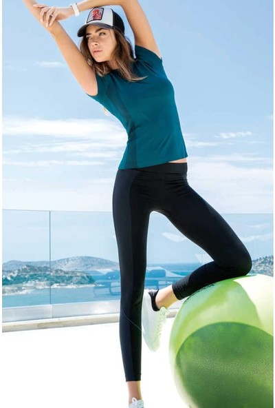 Yeni Inci Siyah Petrol (Yoga-Fitness-Pilates-Koşu) Sporcu Tayt Alt Üst Takım