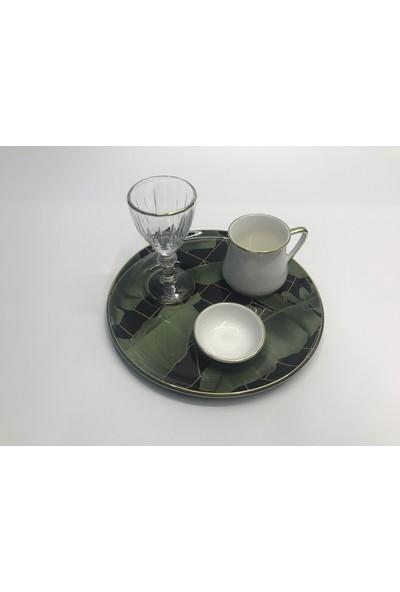 Lavin 4 Parça Kahve Sunum Seti Yaldızlı Ekose Desen 4 Lü Kahve Set