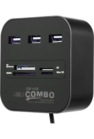 Concord 3 Port USB 2.0 Hub - USB Çoklayıcı + USB Kart Okuyucu C-847
