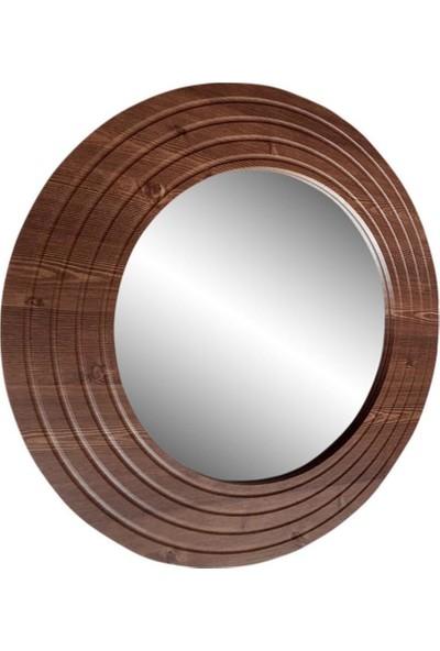 Dfn Wood Ahşap Görünümlü Mdf Yuvarlak Duvar Salon Banyo Aynası