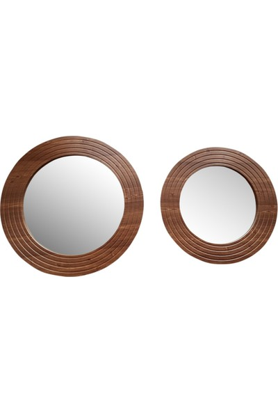 Dfn Wood Ahşap Görünümlü Mdf 2 Li Yuvarlak Duvar Salon Banyo Aynası(60 cm ,50 cm Çap)