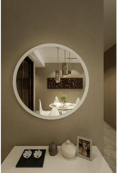 Dfn Wood Beyaz Mdf Yuvarlak Duvar Salon Banyo Aynası