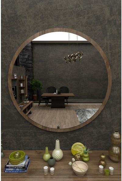 Dfn Wood Kahverengi Mdf Yuvarlak Duvar Salon Banyo Aynası
