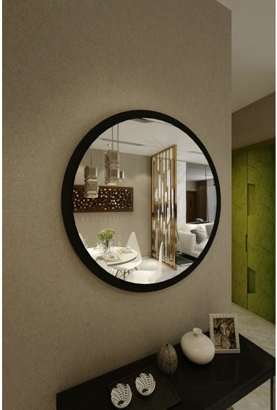 Dfn Wood Siyah Mdf Yuvarlak Duvar Salon Banyo Aynası