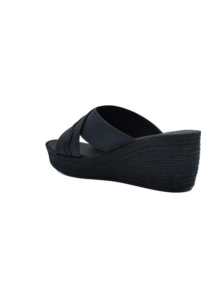 Voga Kadın Siyah Dolgu Topuk Terlik