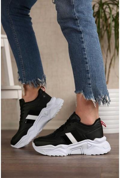 Kadın Yüksek Taban Fashion Siyah&beyaz Spor Ayakkabı