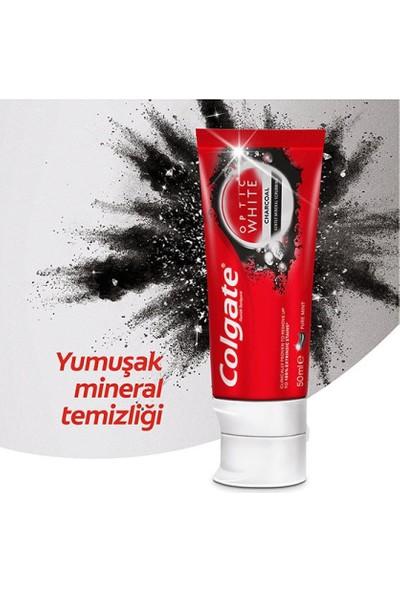 Colgate Optic White Aktif Kömür Beyazlatıcı Diş Macunu 4 Adet + Extra Clean 1+1 Diş Fırçası