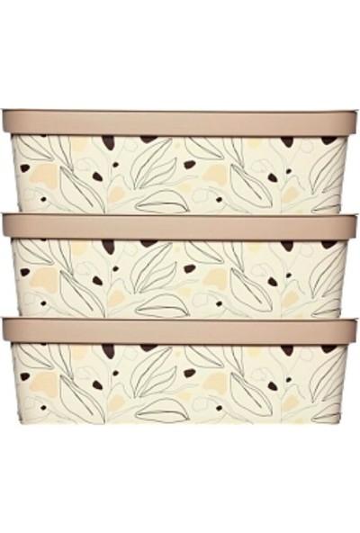 Nandy Home Dekoratif 14 Lt Oyuncak & Düzenleyici Kapaklı Saklama Kutusu Floral 3'lü Set