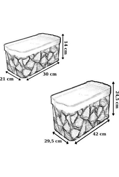 Nandy Home Oyuncak & Düzenleyici Kapaklı Saklama Kutusu 2 Adet 7,5 Lt, 1 Adet 24 Lt Set Latte