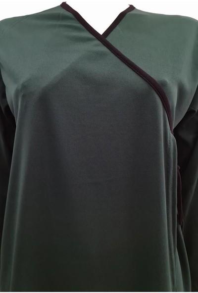Hazal Namaz Elbisesi Zümrüt Yeşil Softjarse Kumaş Bağlamalı Model