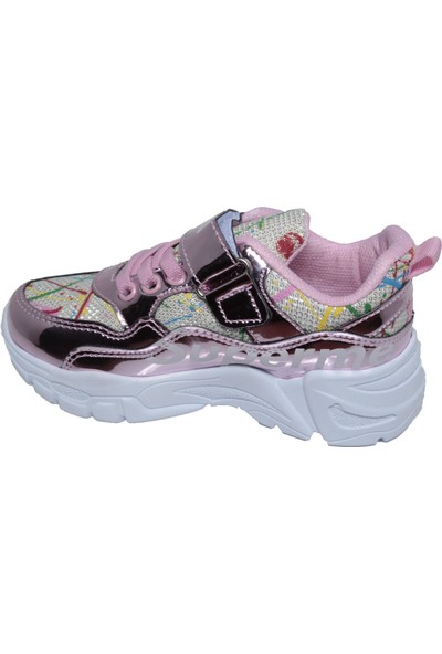 Lefonten Kız Çocuk Pembe Simli Parlak Çırtlı Spor Yürüş Ayakkabı