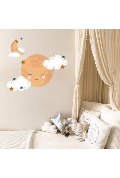 Dijitalya Uyuyan Ay - Bulut - Yıldızlar Sticker   Duvar - Dolap - Kapı   Çocuk Odası Sticker