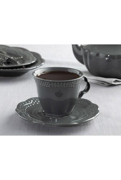 English Home Viyana Porselen 4 Parça Çay Fincanı Takımı 180 Ml. Antrasit