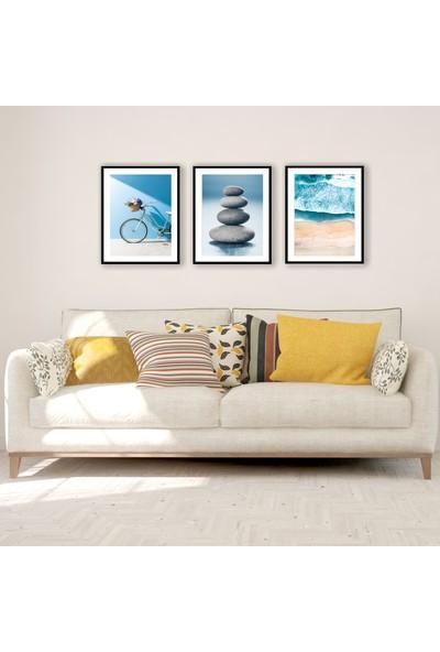 Ren House Ocean Breeze 3 Parça Çerçeveli Mavi Tonlar Poster Tablo Seti