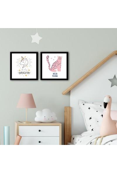 Ren House Pinky Child 2 Parça Çocuk Odası Çerçeveli Modern Poster Tablo Seti