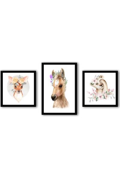 Ren House Fancy Animals 3 Parça Sevimli Hayvanlar Çocuk Odası Çerçeveli Poster Tablo Seti