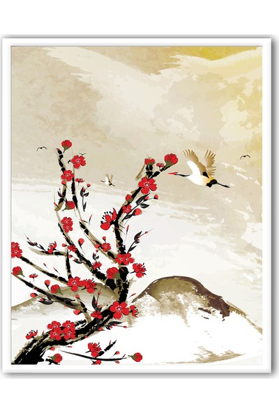 Ren House Kiraz Çiçekleri ve Turna Kuşu Çerçeveli Renkli Poster Tablo