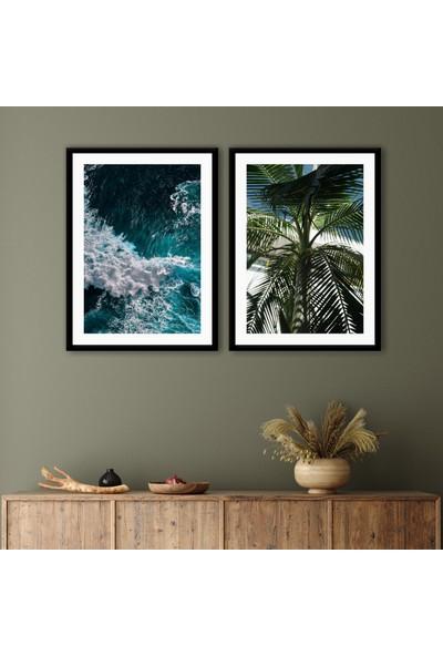Ren House Ocean Palm 2 Parça Modern Doğa Poster Tablo Seti