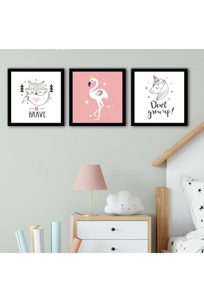 Ren House Brave Flamingo 3 Parça Çerçeveli Çocuk Odası Poster Tablo Seti