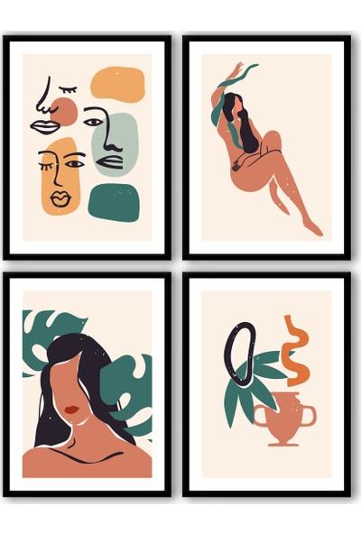 Ren House Boho Faces And You 4 Parça Çerçeveli Bohem Soyut Modern Poster Tablo Seti