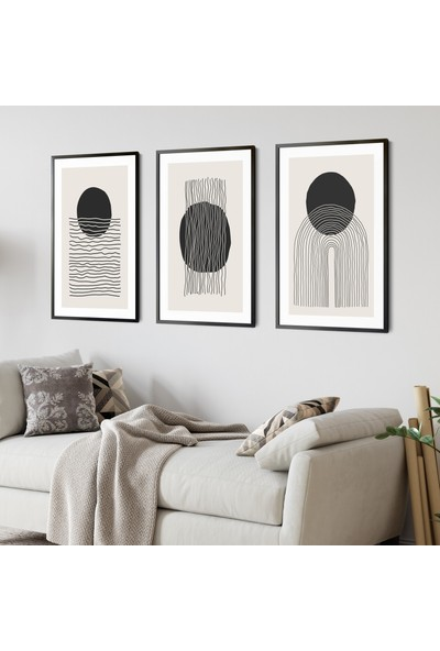 Ren House Abstract Power Of Balance 3 Parça Çerçeveli Bohem Soyut Modern Poster Tablo Seti