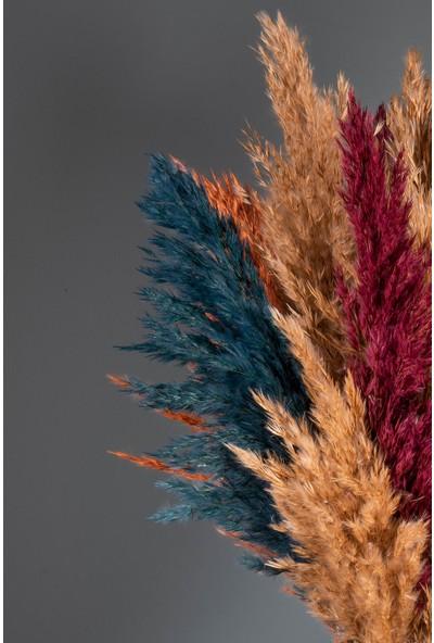 Yapay Çiçekçiniz Şoklanmış Sonbahar Renkli 16'lı Pampas Otu 100CM