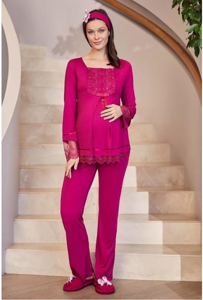 Makro Dantelli Lohusa Pijama Takım Mecit 1820