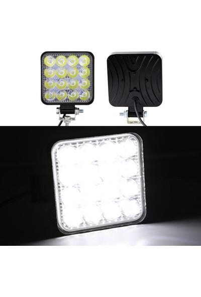 Tekstore Off Road Sis Farı, 16 LED Kare Çalışma Lambası 2 Adet 12-24V, 48W