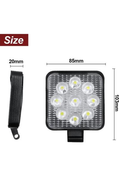 Tekstore Off Road Sis Farı 9 LED Kare Çalışma Lambası 1 Adet 12-24V