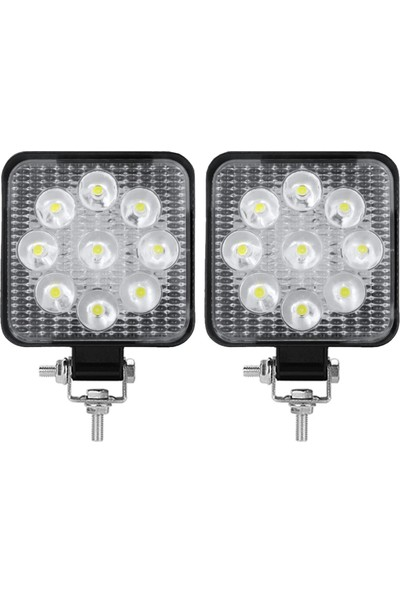 Tekstore Off Road Sis Farı 9 LED Kare Çalışma Lambası 2 Adet 12-24V