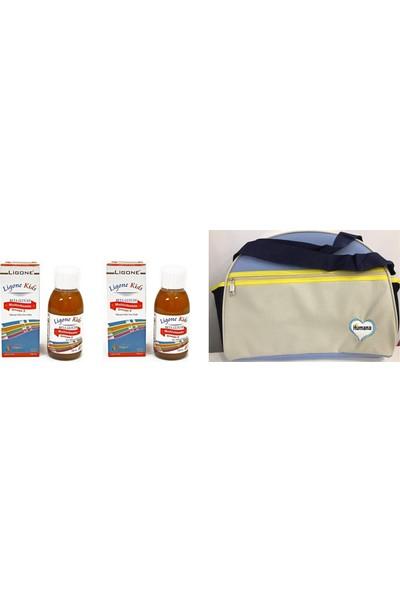 RC FARMA Ligone Kids Multivitamin Betaglukan+Omega Şurup 150 ml -2 Adet-Humana Bebek Bakım Çantası