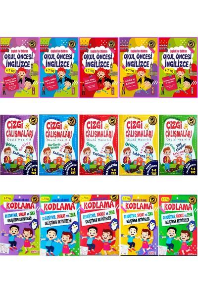 Harika Çocuk Yayınları Okul Öncesi Ingilizce Çizgi Çalışması ve Kodlama Eğitim Seti 15 Kitap