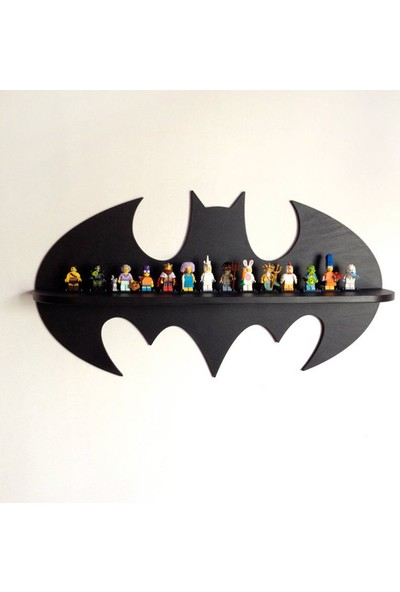 Dfn Wood Batman Şekilli Raf Kitaplık Duvar Rafı Çocuk Odası Raf