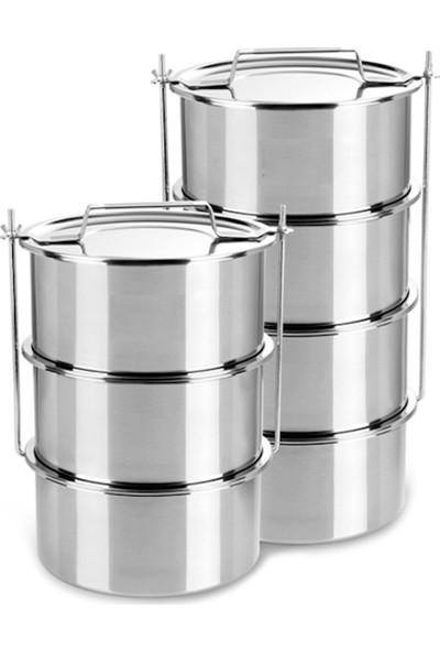 Özbir Paslanmaz Çelik Sanayii Tipi Sefer Tası 3'Lü , Tas Boyutu 20 X 10 Cm 3,0 Lt X 3 Adet