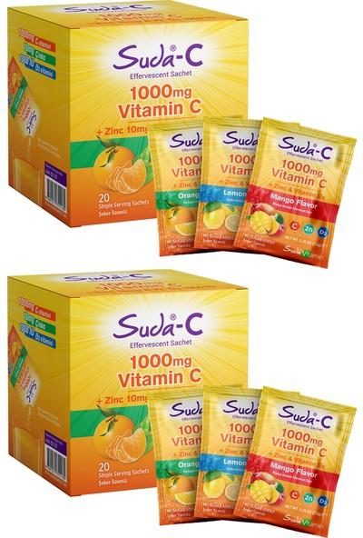 Suda Suda-C Vitamin C 1000 Mg Limon Aromalı + Zinc + Vitamin D3 2'li Paket