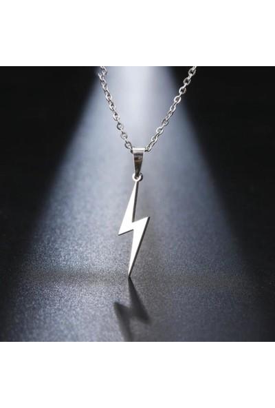 Alp Collection Gri Şimşek Bolt Flash Gordon Metal Zincirli Kolye